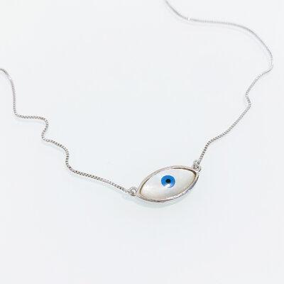 Colar Olho Grego Madrepérola - Banho Ródio Branco