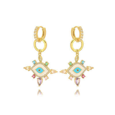 Brinco Argola Olho Grego Esmaltado Cristal Colors - Banho Ouro 18k