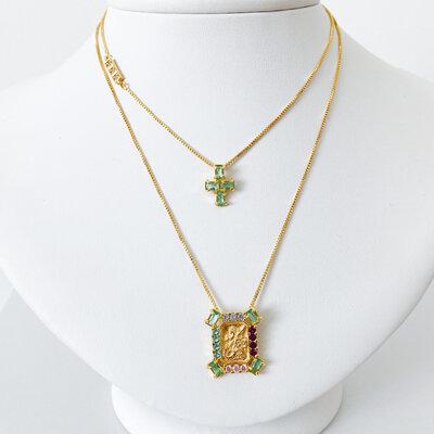 Escapulário Colors São Jorge e Crucifixo - Ouro 18k