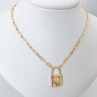 Colar Cartier Cadeado com Coração - Banho Ouro 18k