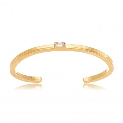 Bracelete Liso Com Cristal - Banho Ouro 18k