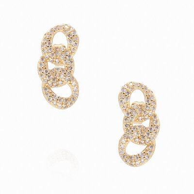 Brinco Ear Cuff Elos Zircônias - Banho Ouro 18k