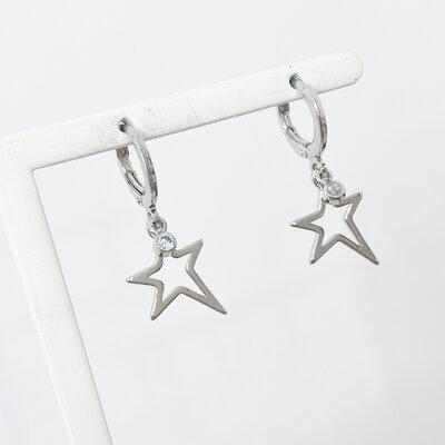 Argolinha Estrela com Ponto de Luz - Banho Ródio Branco