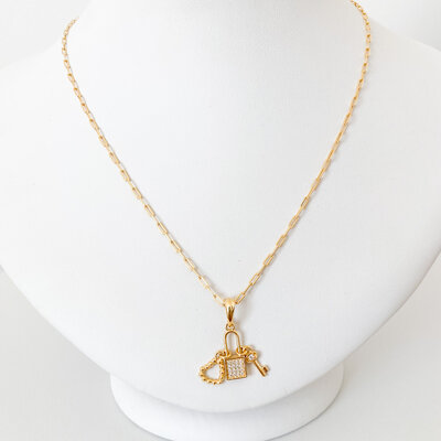 Colar Cartier Cadeado Cravejado Chave Coração - Banho Ouro 18k