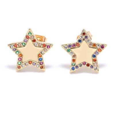 Brinco Estrela Cravejado Zircônias Colors - Banho Ouro 18k
