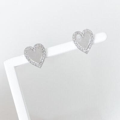 Brinquinho Coração Cravejado - Banho Ródio Branco