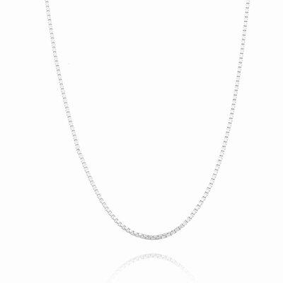 Colar Longo Corrente Veneziana 70cm - Banho Ródio Branco