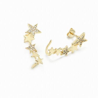Brinco Ear Cuff Estrelas Micro Zircônias - Banho Ouro 18k