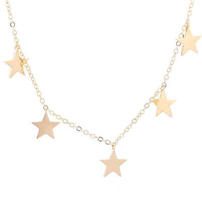 Colar 5 Estrelas Lisas - Banho Ouro 18k