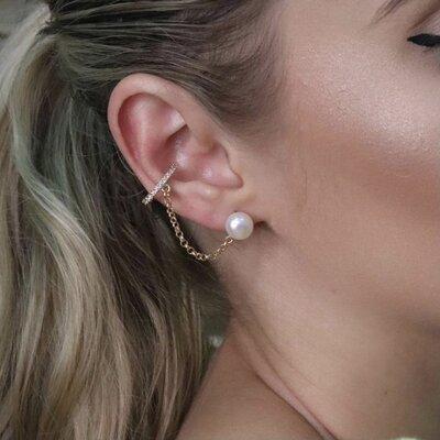 Brinco Ear Line Cravejado Pérola - Ouro 18k