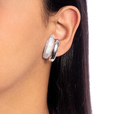 Brinco Ear Hook Cravejado - Ródio Branco