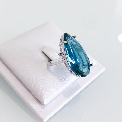 Anel Solitário Gota Grande Turmalina Azul - Banho Ródio Branco