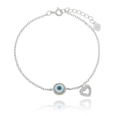 Pulseira Olho Grego Madrepérola e Coração Cravejado - Prata 925