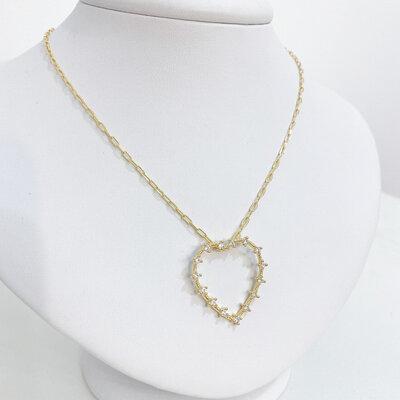 Colar Cartier Coração Maxi Vazado Cravejado Cristais - Banho Ouro 18k