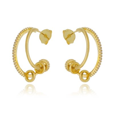 Argola Dupla Cravejada com anéis - Ouro 18k