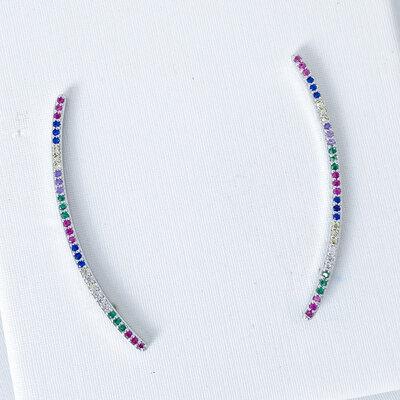 Brinco Ear Cuff Zircônias Colors - Ródio Branco