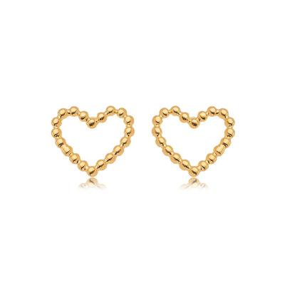 Brinco Coração Bolinhas Vazado - Banho Ouro 18k