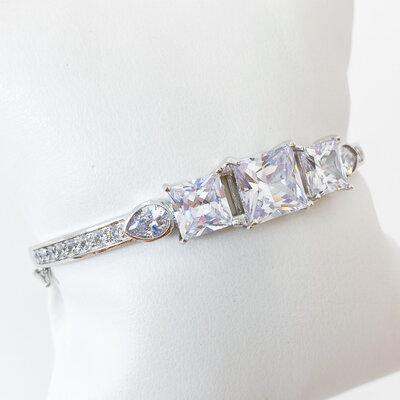 Bracelete Pedras e Zircônias - Ródio Branco