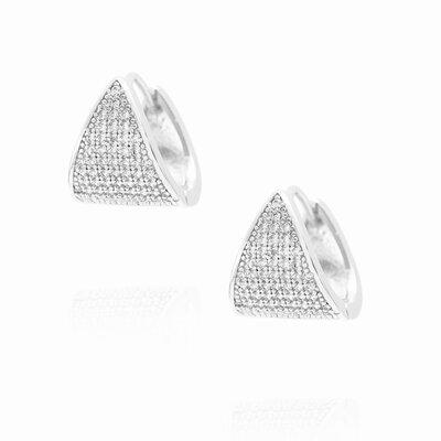 Brinco Argolinha Triângulo Cravejado Zircônias - Rodio Branco