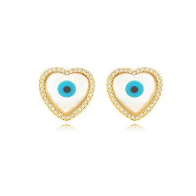 Brinco Coração Cravejado Olho Grego - Banho Ouro 18k