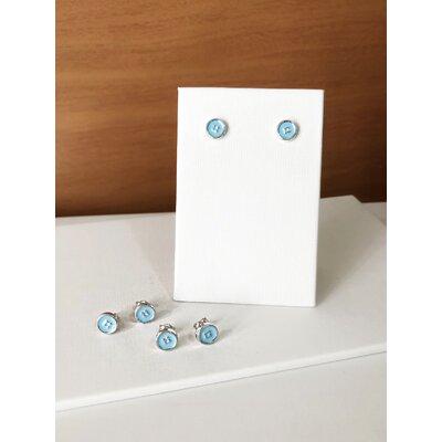 Brinco Solitário Azul Claro - Banho Ródio Branco