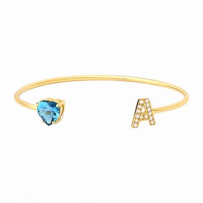Bracelete Letra Inicial Ouro Maciço 18k