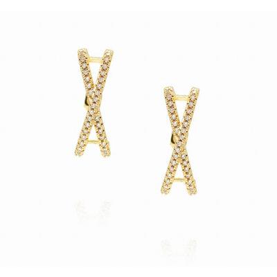Brinco Ear Hook X Cravejado - Banho Ouro 18k