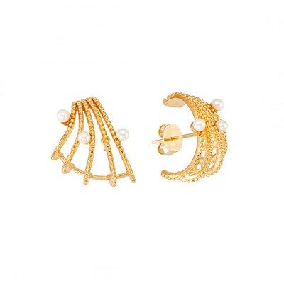 Brinco Ear Hook Pérolas - Banho Ouro 18k
