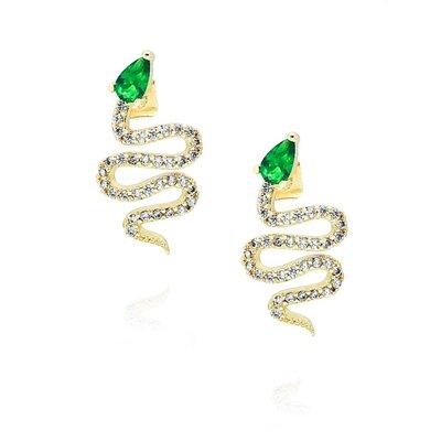 Brinco Serpente Cravejado com Pedra Esmeralda - Banho Ouro 18k