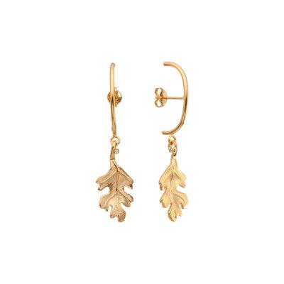 Brinco Ear Hook Folha - Ouro 18k