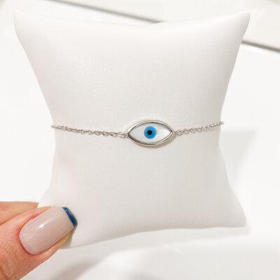 Pulseria Olho Grego Madrepérola - Prata 925