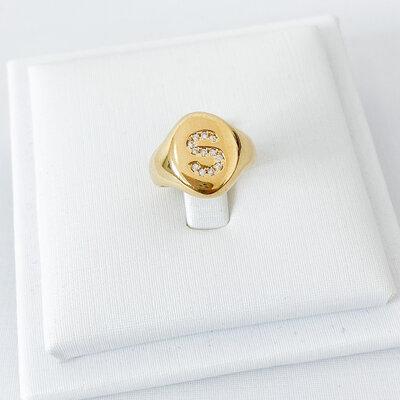 Anel Dedinho letra - Ouro 18k