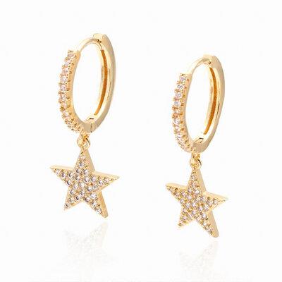 Brinco Argolinha Estrela Cravejado Zircônias - Banho Ouro 18k