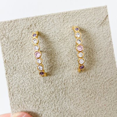 Brinco Ear Hook Zircônias Colors - Ouro 18k