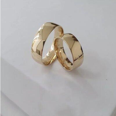 Par de Alianças Casamento Ouro Maciço 18k
