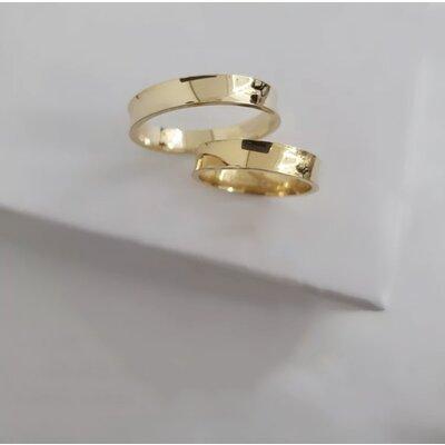 Par de Alianças Côncavas Casamento Ouro Maciço 18k