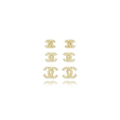 Trio Brincos Cravejado Inspiração CH - Banho Ouro 18k