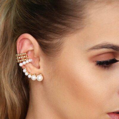 Brinco Ear Cuff Pérolas - Ouro 18k