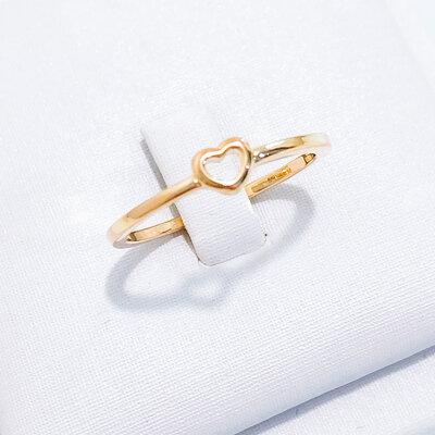 Anel Coração Ouro Maciço 18k