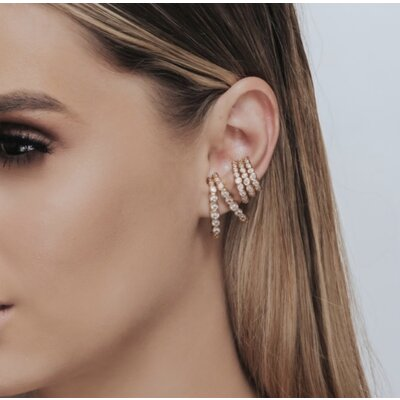 Brinco Ear Hook Zircônias Cristais - Banho Ouro 18k