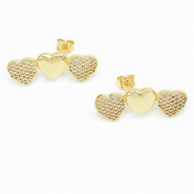 Brinco Ear Cuff Corações - Banho Ouro 18k