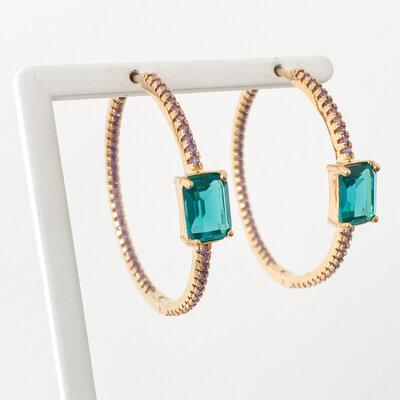 Argola Micro Zircônias e Pedra Verde Esmeralda - Banho Ouro 18K
