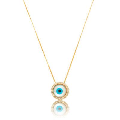 Colar Olho Grego Micro Zirconia - Banho Ouro 18k