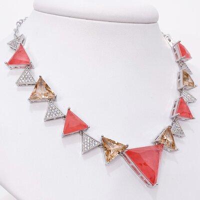 Colar Choker Gargantilha Triângulos Morganita - Banho Ródio Branco