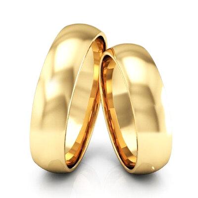 Par de Alianças Abaulada Casamento Ouro Maciço 18k