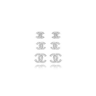 Trio Brincos Cravejado Inspiração CH - Banho Ródio Branco