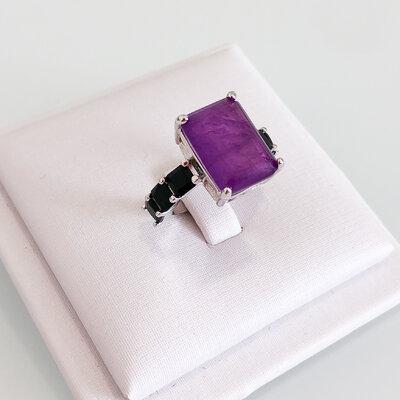 Anel Pedra Quadrada Original Fusion - Banho Ródio Branco