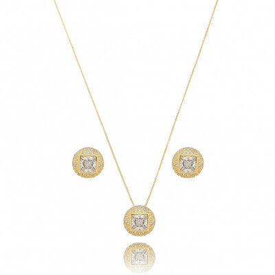 Conjunto Oval Cravejado e Cristal Central - Ouro 18k