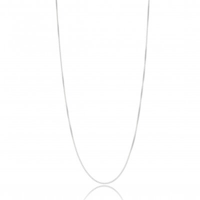 Corrente Veneziana Longo 60cm - Banho Ródio Branco
