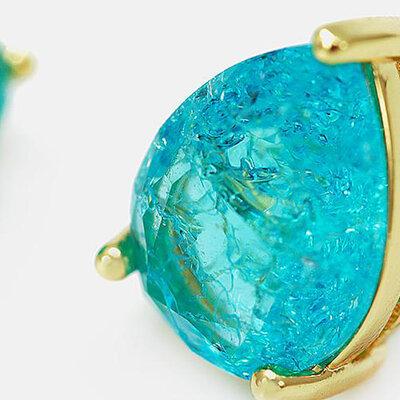 Brinco Gota Pedra Fusion Natural - Banho Ouro 18k